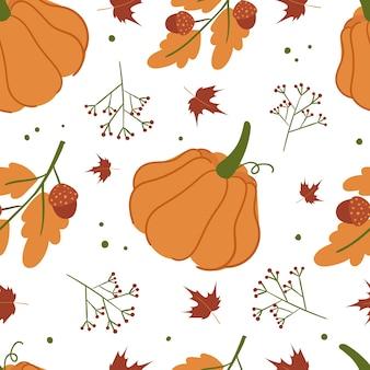カボチャとかわいい秋のパターン。白い背景の上の漫画のスタイルで。手描き。