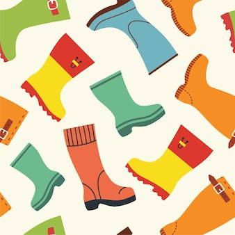 Cute autumn pattern with rubber boots. fall season seamless background