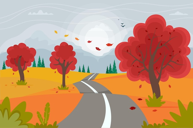 Cute autumn road landscape with mountains. vector illustration in flat style