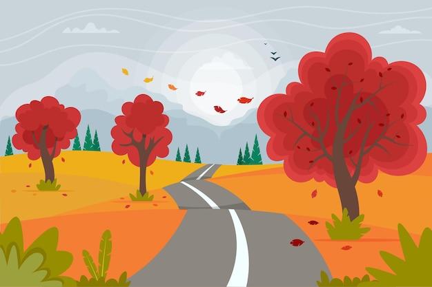 山とかわいい秋の道路の風景。フラットスタイルのベクトル図