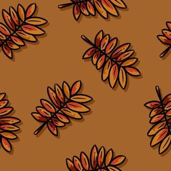 Cute autumn rowan leaves cartoon seamless pattern