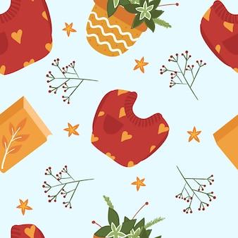 Cute autumn seamless pattern. sweater, book, houseplant. .