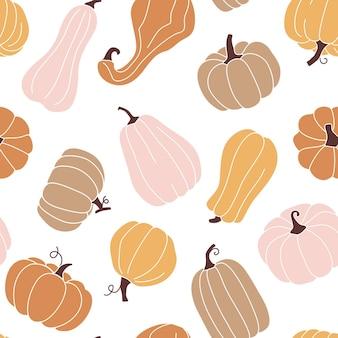 Симпатичные осенние бесшовные модели с тыквами в пастельных тонах