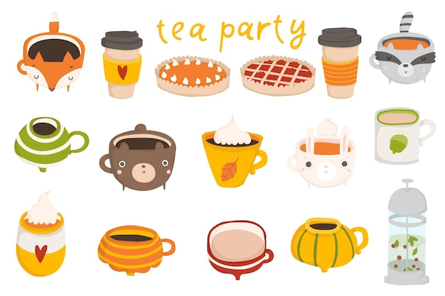 Cute autumn set with illustrations of mugs with hot cocoa coffee milk pumpkin latte