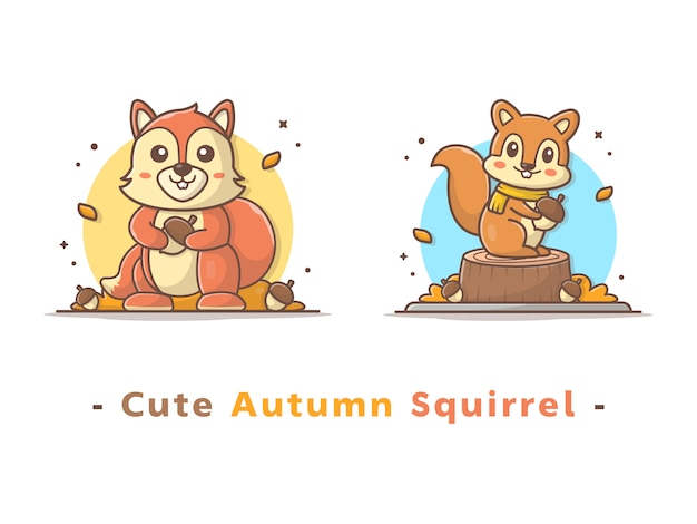 Cute autumn squirrel