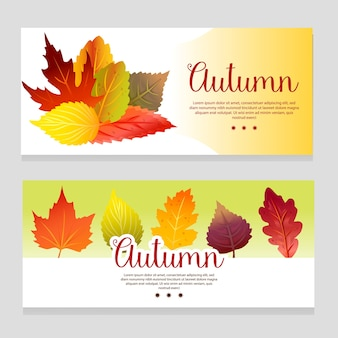 Cute autumn theme banner with forest leaves