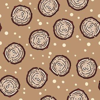 Cute autumn tree stump cartoon seamless pattern.