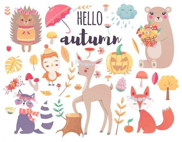 かわいい秋の森の動物と秋の花の森のデザイン要素