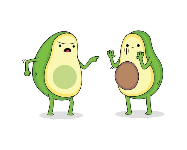 Cute avocado cartoon character arguing