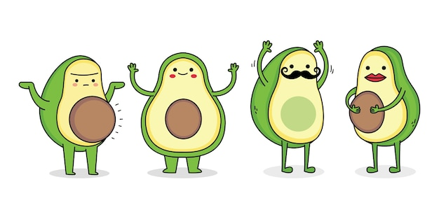 Cute avocado cartoon character set