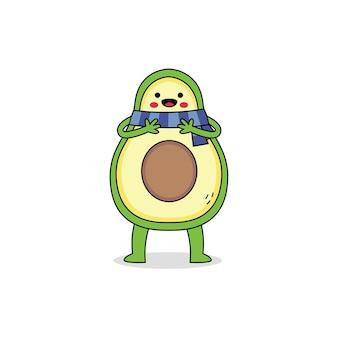 스카프를 착용하는 귀여운 아보카도 만화 캐릭터