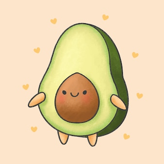 Cute avocado cartoon hand drawn style