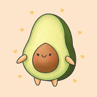 Cute avocado cartoon hand drawn style