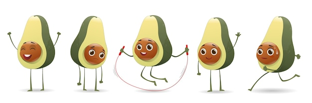 Cute avocado character set