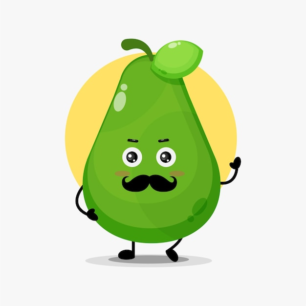 Cute avocado character with mustache