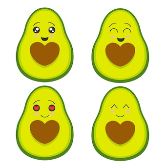 Cute avocado collection
