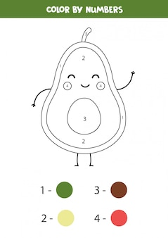 Cute avocado coloring page. color by numbers.