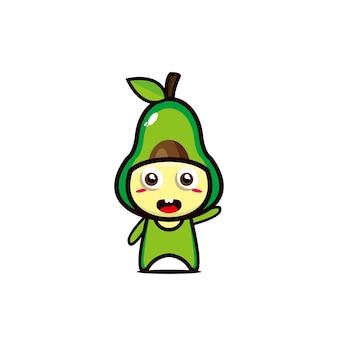 Cute avocado happy smiling funny vector flat style cartoon character illustration