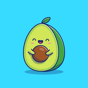 Cute avocado   icon illustration. fruit icon concept isolated  . flat cartoon style