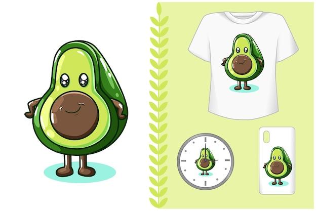 Милая иллюстрация авокадо Premium векторы