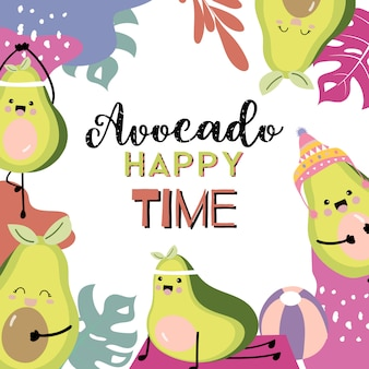 Cute avocado invitation card with exercise