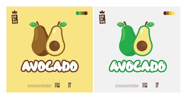 2色のブレンドでかわいいアボカドのロゴのコンセプト