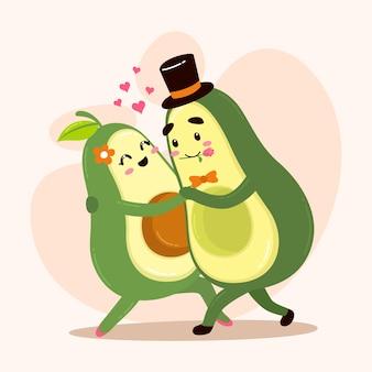 Cute avocado lovers dancing salsa