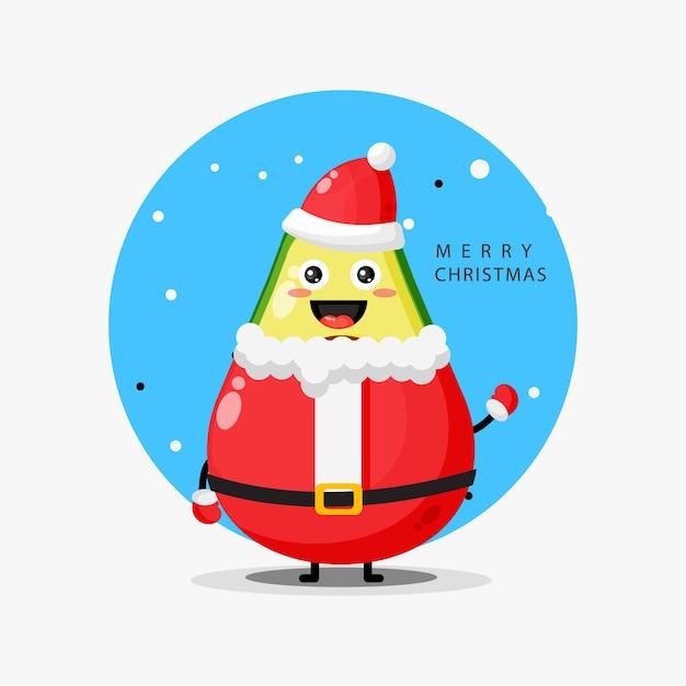 산타 클로스 복장에 귀여운 아보카도 마스코트