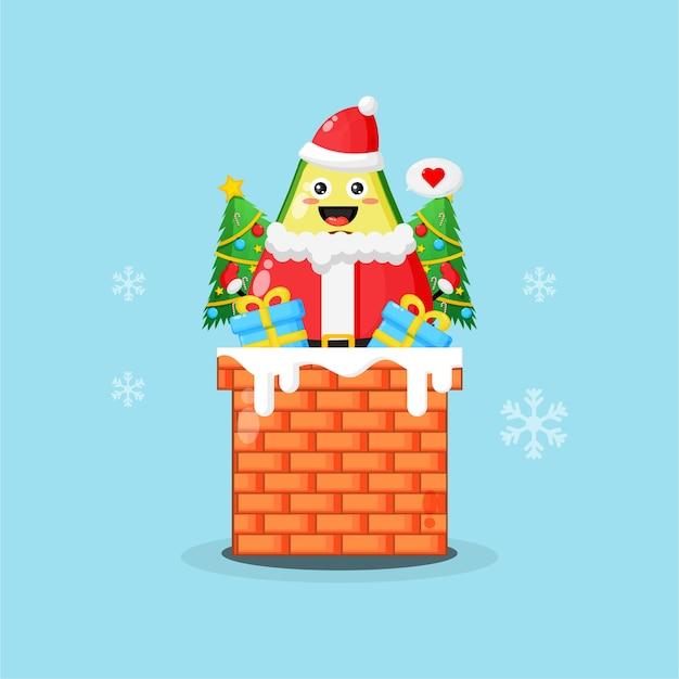 크리스마스 선물과 함께 굴뚝에 귀여운 아보카도