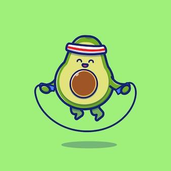 Симпатичные авокадо играет скакалка мультфильм значок иллюстрации. фрукты здоровье иконка концепция изолированные премиум. плоский мультяшный стиль