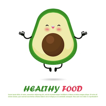 Cute avocado in yoga pose, eating healthy food and fitness, funny cartoon fruit character happy strong avocado meditate in yoga pose isolated on white background  illustration in flat style