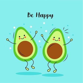 Cute avocados cartoons characters