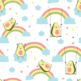 Cute avocados print design seamless vector illustration design for fashion fabrics