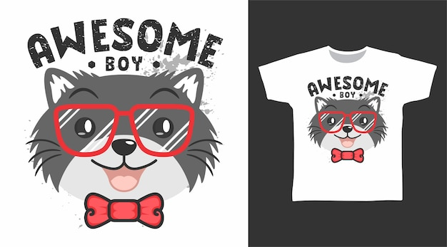 Cute awesome cat with glasses tshirt design