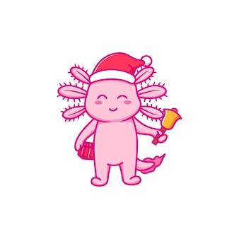 귀여운 axolotl 디자인은 크리스마스를 축하합니다.