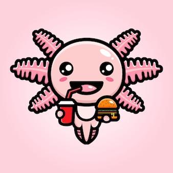 Cute axolotl enjoying food and drink