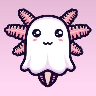 귀여운 axolotl 유령 캐릭터 디자인