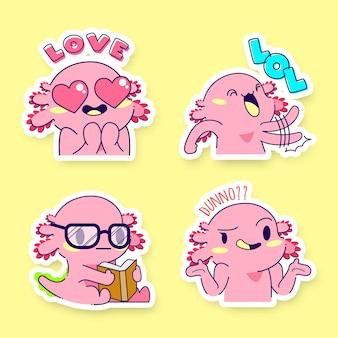 귀여운 axolotl 스티커 벡터 세트