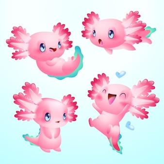 귀여운 axolotl 벡터 세트, 귀여운 도롱뇽
