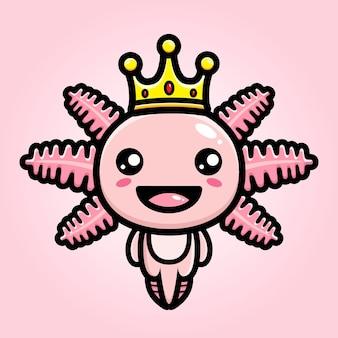 왕의 왕관을 쓰고 귀여운 axolotl