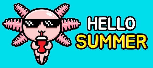 여름 인사말 배너와 함께 귀여운 axolotl
