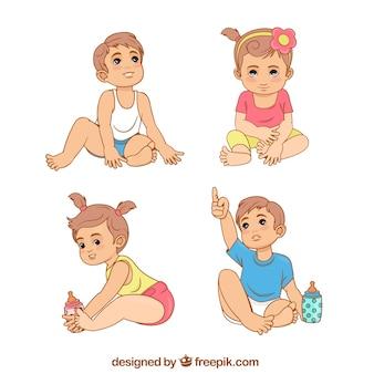 다른 포즈의 귀여운 아기 컬렉션