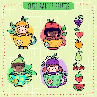 Cute babies fruits tea and fruit icons