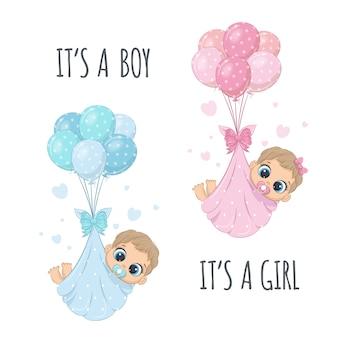 「男の子だ」「女の子だ」の風船のおむつを着たかわいい赤ちゃん