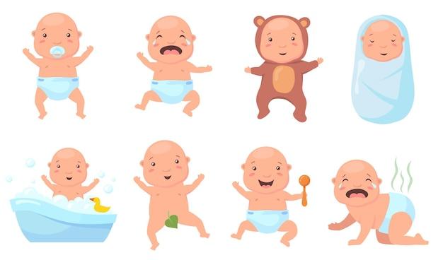 さまざまなポーズのかわいい赤ちゃんフラットイラストセット