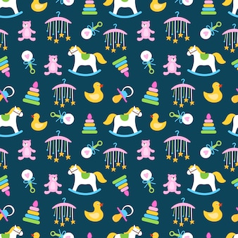Cute babies toys seamless pattern