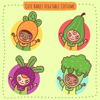 Cute babies vegetable costume icon