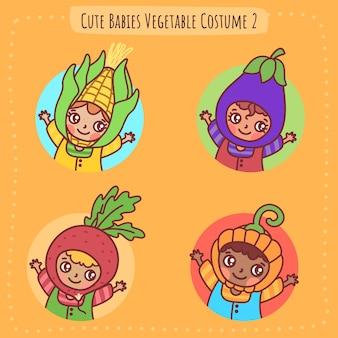Cute babies vegetable costume illustration