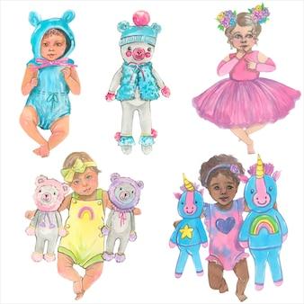 Симпатичные младенцы, акварельные иллюстрации. изолированные элементы вектора.