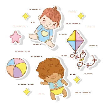 Cute babies with ball and kite toys